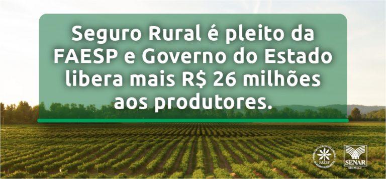 Seguro Rural é pleito da FAESP e Governo do Estado libera mais R$ 26 milhões aos produtores
